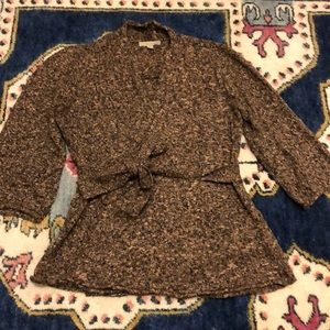 Nordstrom One A Brown Tweed Wrap Sweater Large
